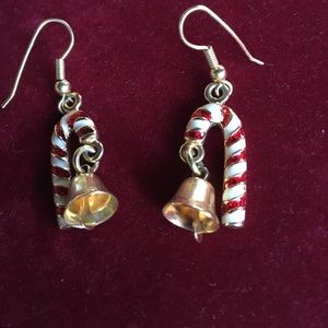 Vintage candy cane and bell earrings