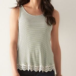 Sonoma Tops - Striped Crochet-Hem Tank