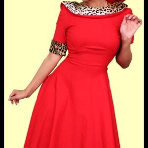 Stop Staring Dresses & Skirts - Red swing dress w/ faux leopard fur- stop staring