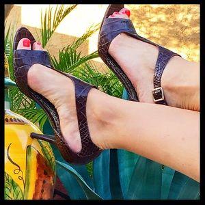 Bandolino Shoes - 💐SALE💐Bandolino Brn Croc Embossed Leather Heels
