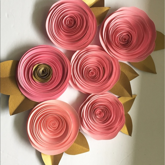 Pink Gold Paper Flowers Shabby Chic