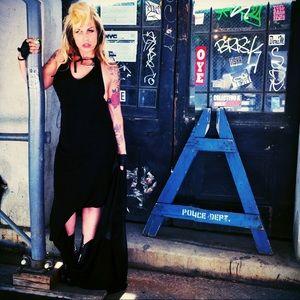 L.A.M.B. Dresses & Skirts - L.A.M.B BLACK HALTER DRESS WITH LONG SIDE TRAIN L