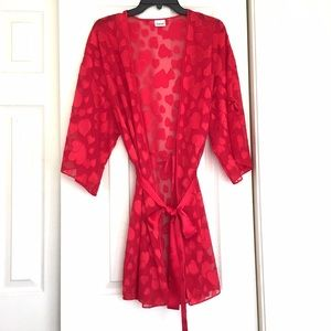 Frederick's of Hollywood Other - Frédérick's Hollywood Robe Red Burnout Hearts