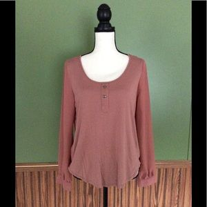 mine Tops - Rusted pink blouse sheer with Open Back keyhole