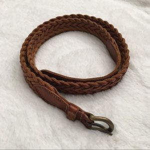 Other - Boys Leather Braided Belt Cognac