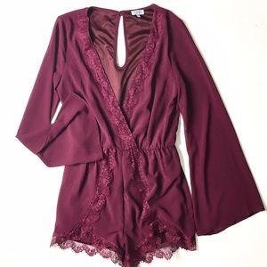Tobi Dresses & Skirts - Tobi Plunge Lace Romper