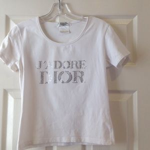 2b01405c Christian Dior Tops - Christian Dior J'ADORE DIOR rhinestone top. Size 8