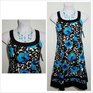 new directions Dresses & Skirts - 🆕ND New Directions Black & Blue Floral Dress