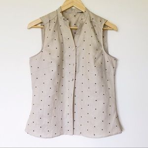 Vintage linen sleeveless polka dots tank top
