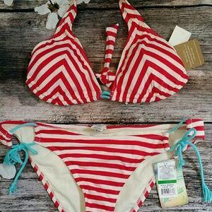 Hobie Other - Hobie Size L Large red white striped bikini Halter