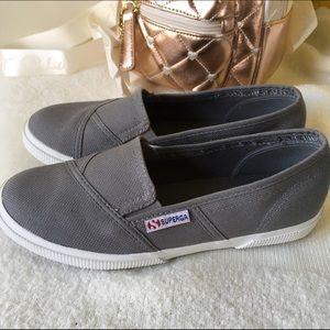 Superga Shoes - Superga grey slip-on shoes