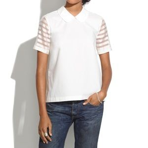 Madewell Curved Collar Tip in Organza Stripe