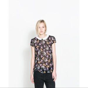 ZARA floral blouse with peter pan collar