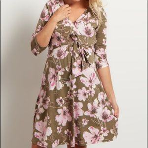 Pinkblush Dresses & Skirts - Pinkblush olive green floral faux wrap dress