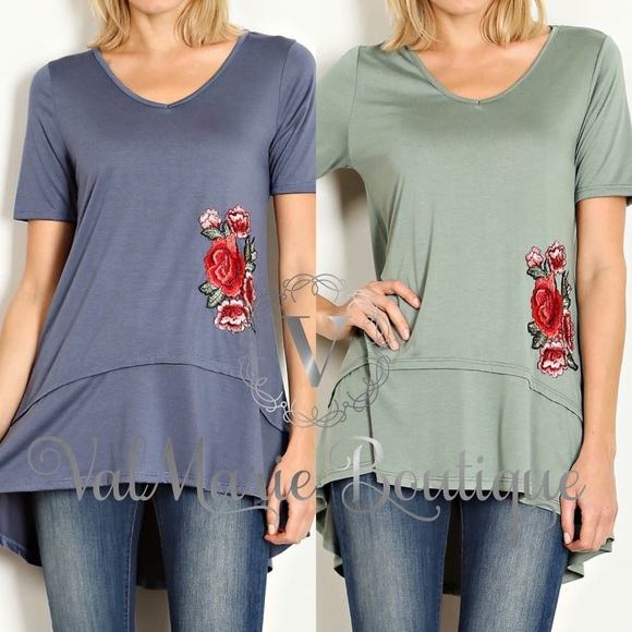 ValMarie Boutique Tops - ROSE PATCHED TSHIRT BLOUSE