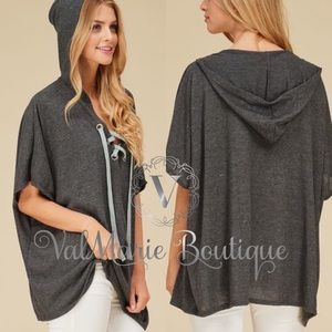 ValMarie Boutique Tops - Oversized MEGA SOFT short sleeve hoodie tunic