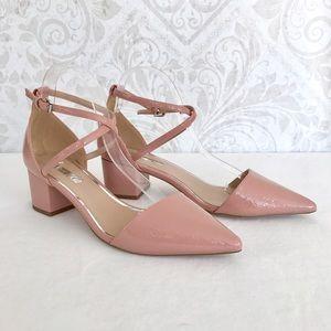 Kurt Geiger Shoes - NEW Miss KG blush patent block heel d'Orsay pumps