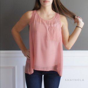 Ya Los Angeles Tops - Sheer Dusty Rose Pink Sleeveless Top
