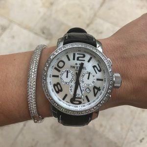 TW Steel Accessories - TW Steel Watch w/ Diamond Bezel & Leather Band