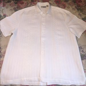 Cubavera Other - Cubavera White Linen Embroidered Wedding Shirt