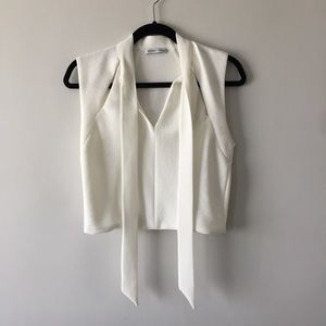 White crop top with cut out
