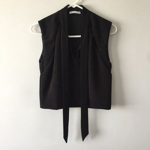 Black cop top, cut out and ribbon detailing