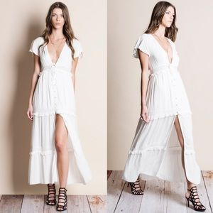 xx Button Down Deep Plunge Maxi Dress or Top