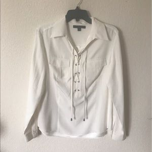 Lafayette 148 New York Tops - Lafayette 148 New York White Laced Up Blouse Sz 10
