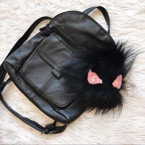 Vintage Handbags - • Black Faux Leather Backpack •