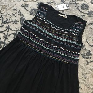 Embroidered tank dress