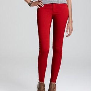 rag & bone Denim - Rag & Bone Devi Red Twill Jeans Ankle Zip