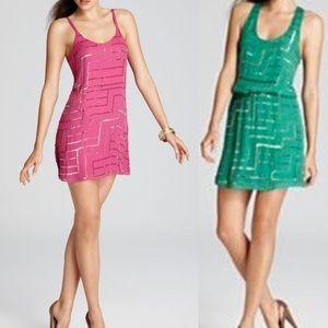 Parker Dresses & Skirts - Parker Magenta Racerback sequin dress M silk