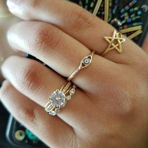 14k Yellow Gold Engagement Ring&Wedding Band