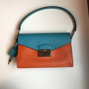 Prada Handbags - Prada Saffiano Bag (Papaya & Turquoise). New