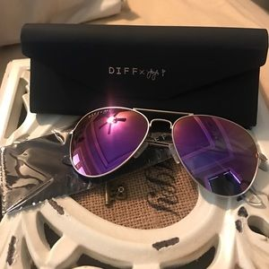 Diff Eyewear Accessories - Diff x JoJo Purple Aviator Sunglasses
