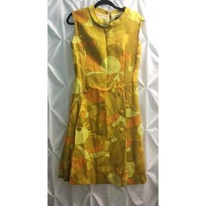 Vintage 70's Flower Floral Mustard Dress