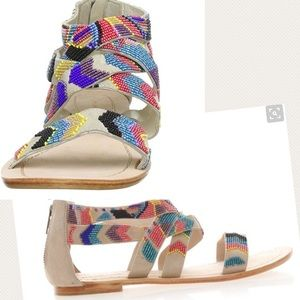 Antik Batik Shoes - Antik Batik beaded chevron suede Gladiator sandals