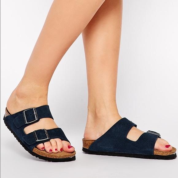29c4411cf3d567 Birkenstock Shoes - Birkenstock Arizona 40 Suede Dark Navy Two Strap