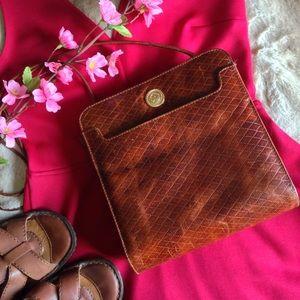 Vintage Handbags - Vintage Albert Nipon Square Leather Crossbody Bag
