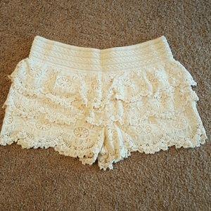 Angel Kiss Pants - Angel Kiss tiered crochet short Large