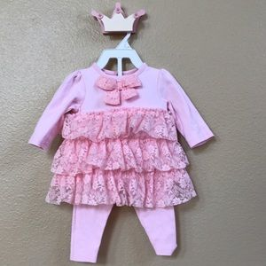 Baby Starters Other - Pink top and pant outfit with lace detail.