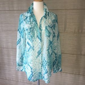 Andrew Charles Tops - Turquoise snake print button down top
