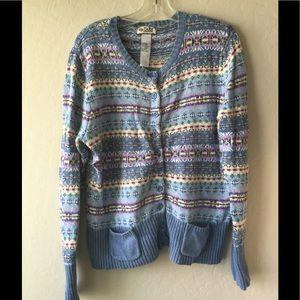 Tiara Sweaters - Blue striped cardigan sweater