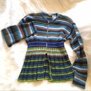 Oilily Sweaters - Oilily contrast stripe zip cardigan peplum bottom