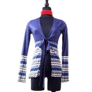 Autumn Cashmere Sweaters - Autumn Cashmere lurex silk chevron tie cardigan XS