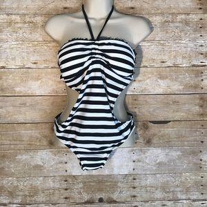 VM Other - VM One piece swimsuit   Black/white striped Sz M