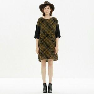 Madewell Silk Shift Tread Plaid Dress size XS