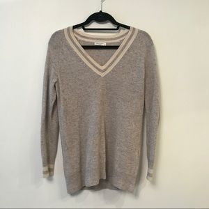 Equipment Cashmere V-Neck Sweater with contrast