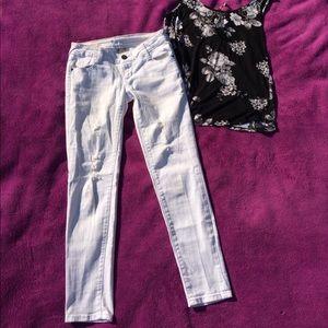 Mth Degree Denim - Degree brand ripped, white, stretch skinny jeans
