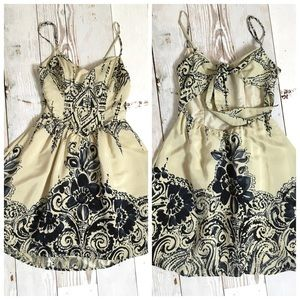 AKIKO Dresses & Skirts - Akiko Silk Open Back Mini Dress